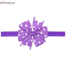 ROMIRUS Modern 2017 Baby Girl Hair Accessories Headband Bowknot Polka Dot Toddle Infant Newborn Hair Bands Photography Props E49