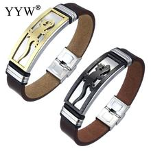 YYW Men Jewelry Wrist Wholesale Bracelets Leather Cowhide Cord Bangles Animal Charm ID Stainless Steel Bangles Bracelets for man