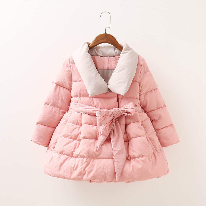 Free fashionable childrens fashion Coat 2017 winter new thickening warm girl Cotton-padded jacket Belt long coat 3 colorÎäåæäà è àêñåññóàðû<br><br>