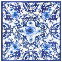 Mosoga 2016 Womans Winter Scarf Classic Blue and White Porcelain Printing Flower Square Handkerchief 60-60cm Satin Silk Scarves