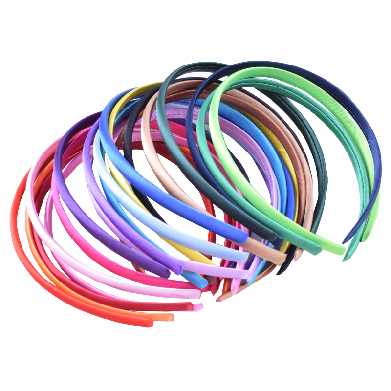 5//10Pcs Candy Plastic Covered Satin Headbands Hair Band for Baby Girls DIY、Craft