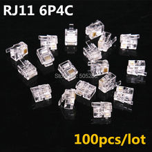 100pcs 4 Pin RJ11 6P4C Crystal Plug Connector Adapter Telephone Cable RJ11 cat3 Plug Connector Adapter Socket HY849