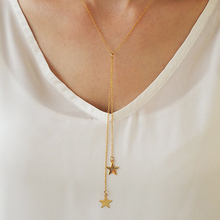 Layered star necklace, Minimal Y necklace, Dainty Female gifts  XL368