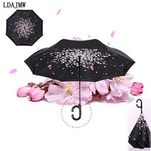 New Automatic Double Layer Reverse Umbrella Open/close Narrowest C-Shaped Free Hand Graphic Windproof Long Umbrella Car Umbrella