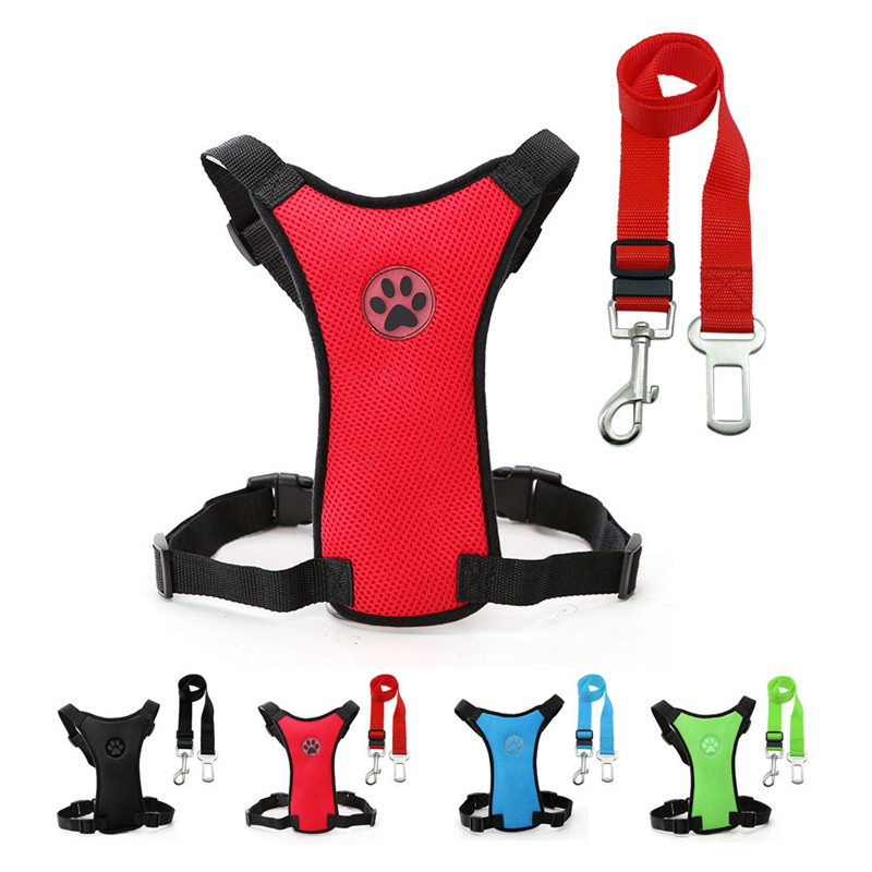 Breathable Mesh Dog Harness Leash With Adjustable Straps Pet Harness With Car Automotive Seat Safety Belt Dog Chest Straps (7)