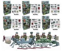 6pcs/lot WW2 Fascist Army Waffen-SS Guards Military Soldiers Building Blocks Compatible With lepin Bricks Toys figure Best gift
