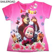 SAILEROAD 2 To 8Y Masha And Bear Child Baby Girl's T Shirt Cartoon Summer Children Kids Tops Tees Shirts Muchachas Camisa De T