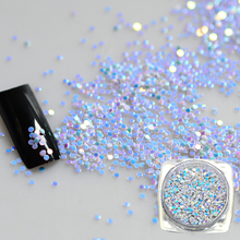 New 2g Mixed Mini Round Thin 3D Light Blue Shining Nail Art Glitter Decoration Sparkly Paillette Nail Tips Round Design BEY02