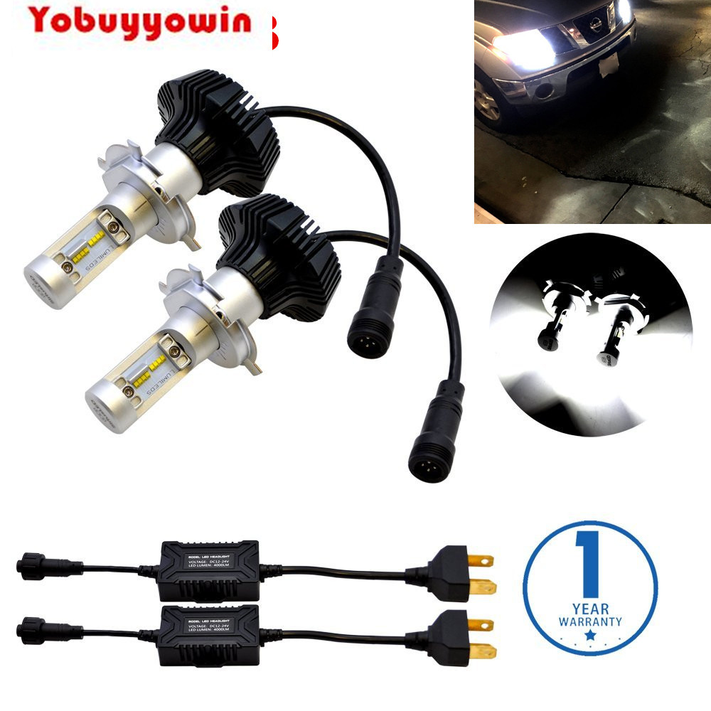 Free Shipping 7G H4 9003 HB2 FANLESS LED Headlight Conversion Kit 6500K 12000LM PhilipsLuxeon ZES Chips No Error For Car Bulbs<br>
