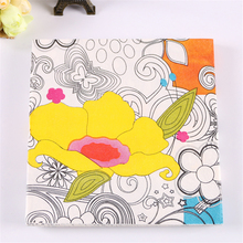 Table napkin paper tissue decoupage vintage printed yellow flower white black oils wedding birthday party cocktail decoration