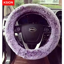 New Winter Steering Wheel Cover Plush Fur Car Steering-Wheel Covers Auto Wheels Case Universal Size M 38cm Car Accessories