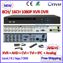 1080P Hybrid AHD DVR 16CH for AHD H M 960H D1 camera H.264 8 Channel DVR recorder P2P IP NVR for 3MP ONVIF 2.4 Network IP camera