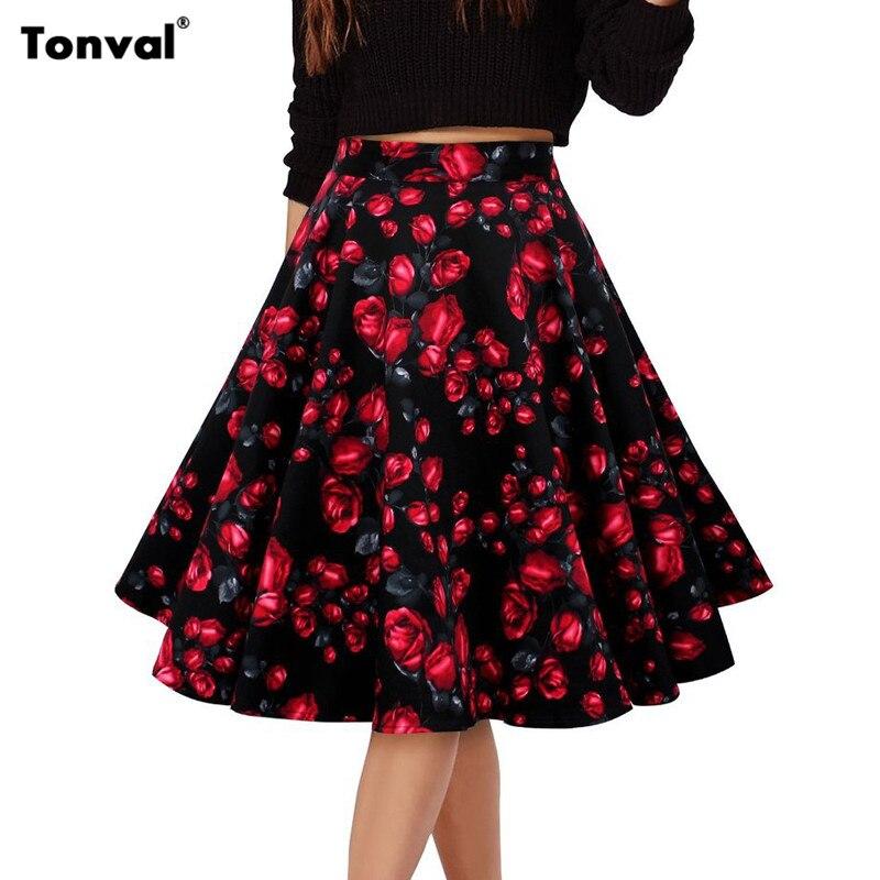 Viifaa midi юбка женщины 2016 vintage цветочный принт и горошек юбки милые цветы элегантный формальное качели юбки femme(China)