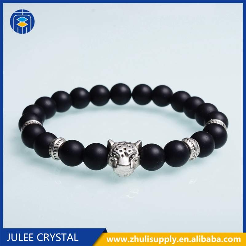 Hot Sale 8mm Natural Lapis lazuli Stone Bracelet Leopard Lion Head Zircon Bracelets for Men