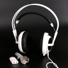 White Color Headset Steelseries Siberia V2 Brand Noise Isolating Game Headphones For Headphone Gamer + sound card