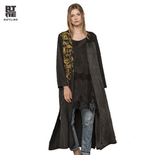 Outline Women Black Linen Trench Vintage Plus Size V-neck Patchwork Flowers Embroidery Loose Long Autumn Lady Cardigans L173Y008