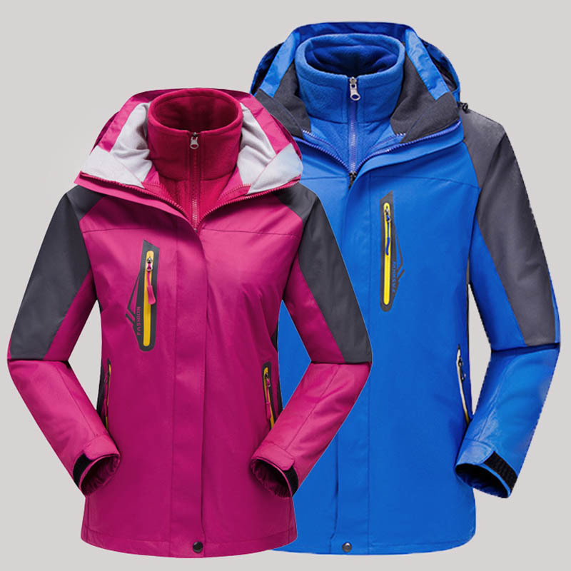 Outdoors Couple Softshell Jackets fleece Three-in-one Male Twinset Windproof Mountaineering Jackets Camping Hiking Thermal Coats<br>