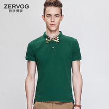 Pre Sale 2014 summer new personalized lapel short-sleeved T-shirt men's cotton round neck solid color breathable Cool boys