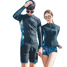 Rhyme Lady new arrival Long Sleeve Swimsuit Surfing Suits couple surf wear rash guard swim beachwear(China)