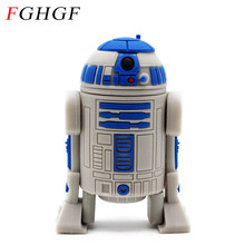 FGHGF Star War Pendrive Series R2D2 Robot USB Flash Drive toy Memory Sticks Pen Drives 1GB 2GB 8GB 16GB 32GB  Rubber