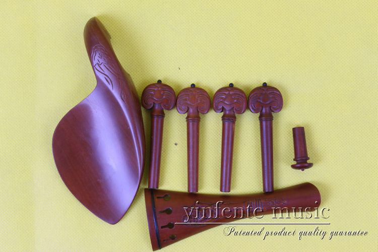 1set Brand new natural  rose wood   4/4 violin parts peg tailpiece chinrest endpin<br>