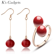 K's Gadgets Double Ball Red Artificial Coral Ring Earrings Women Jewelry Set Adjustable Size Rose Gold Color Jewellery Sets(China)