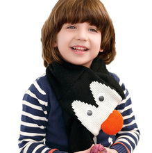 Retail Unisex Children Cute Penguin Head Knitted Bobbles Scarf Child Kids Winter Warm Double Layer Scarves Muffler WJ8336(China)