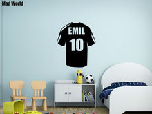 Mad World-Personalised Name Football Soccer Shirt Wall Art Stickers Wall Decal Home DIY Decoration Removable Decor Wall Stickers