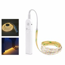 DC 5V PIR Motion sensor LED strip light 2835 SMD 1m 2m 3m LED lamp Closet lamp Wardrobe Cabinet Stairs Gate Battery Power(China)