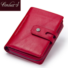 Buy Contact's Short Wallets Genuine Leather Women Wallet New Fashion Coin Purse Zipper&Hasp Design Brand Card Holder Pocket for $17.39 in AliExpress store