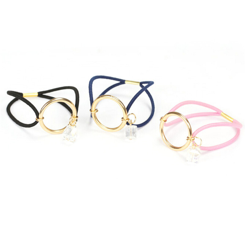 Women Elastic Hair Bands Round Circle with Crystal Gum for Hair Girls Ornament Rubber Headbands Hair Accessories