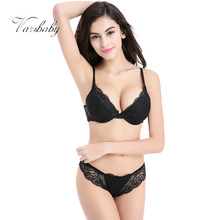 Varsbaby Young Woman Sexy Lingerie Lace Gather Adjustable Floral Bra Sets A B C Cup(China)