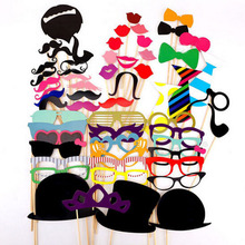 DIY house Mr Mrs fun photo booth props mixed Lips, glasses, hats, beard, Wedding decorations party supplies wholesale(China)