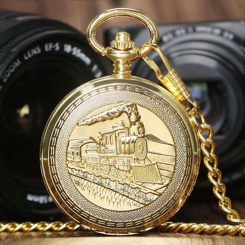Golden Luxury Vintage Retro Train Locomotive Engine Design Mechanical Hand Wind Pocket Watch Double Hunter Men Women Gift P1036C<br><br>Aliexpress