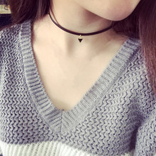 European And American Trade Triangle Pendant Necklace Punk Tattoos Black Rope Necklace Women Clavicle Statement Jewelry  Choker