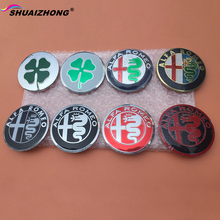 SHUAIZHONG 4pcs 56.5mm Alfa Romeo Green Quatrefoil logo car emblem Wheel Center Hub sticker Rim Dust-proof badge covers(China)