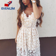EVENLIM Women Sexy Padded Hollow out Lace Dress Lined Summer Lady Dress with Shirt Zipper Party Sundress vestido de festa DRD171(China)