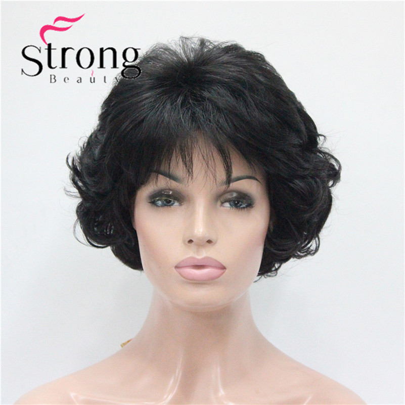 E-7125 #2New Wavy Curly Off Black Wig Short Synthetic Hair Full Women's Wigs For Everyday (1)