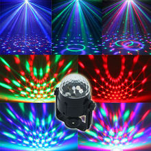 Auto Sound Control Magic Crystal Stage Lights Rotating Ball Effect RGB LED Light for KTV Stage Party Wedding Show Club Disco DJ