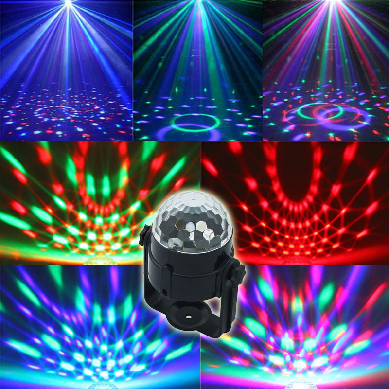 Auto Sound Control Magic Crystal Stage Lights Rotating Ball Effect RGB LED Light for KTV Stage Party Wedding Show Club Disco DJ(China)