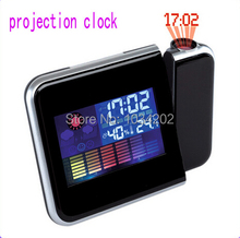 Digital LCD Screen LED Projector Alarm Clock Weather Station Free shipping