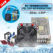 144W Semiconductor Refrigeration Thermoelectric Peltier Dual Chip Cooling System US Plug Computer water Cooling Cooler For CPU
