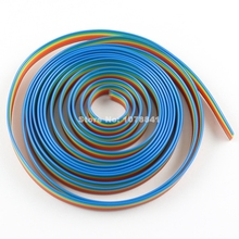2M Meter / 6.6FT 1.27mm Pitch 6 Way Wire Conductor Rainbow Color IDC Flat Ribbon Cable For 2.54mm FC Connector