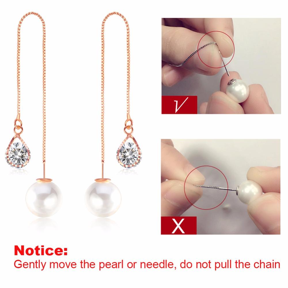 Effie Queen Fashion Cute Ear Wire Earrings Female Models Long Drop Crystal Imitation Pearl Jewelry Dangle Earrings Brincos DDE26 5