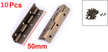 Home Metal Retro Style Cabinet Window Wardrobe Door Hinge Bronze Tone 50 x 10mm 10 pcs