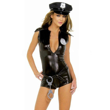 Buy Women sexy latex police uniform w/hat sleeveness rubber nightclub performance costumes plus size hot sale Customize Service