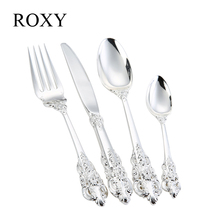 24 Pieces Luxury Silver Cutlery Set Dinner Set Tableware Silverware Dinner Fork Knife Drop Shipping(China)