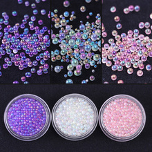 1 Box Mini Bubble Caviar Beads 1-3mm Colorful Clear Pink Purple 3D Nail Art Decoration Manicure Nail Accessories Body Art(China)