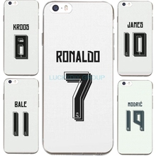 For IPhone7 7Plus 4 5S  6 6S Case For Madrid Football Club Ronaldo Bale Jersey Transparent Silicone soft slim Tpu Phone Cover