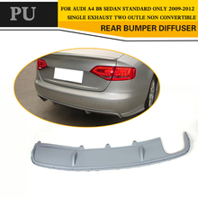 PU Unpainted grey primer car rear bumper diffuser lip spoiler for Audi A4 B8 standard Only 09-12